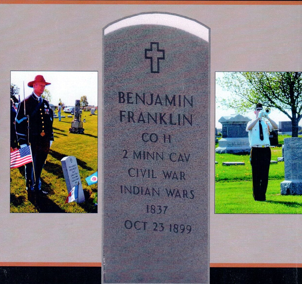 A PHOTO OF The Gravestone Placed On Unmarked Grave Of Benjamin Franklin In Cemetery Essex Iowa Center Along With Either Side